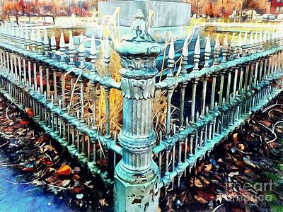 Photograph - Antique Victorian Wrought Iron Fence - Time Will Tell by Janine Riley