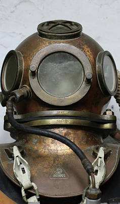 Photograph - Antique Vintage Metal Underwater Diving Helmet by Tom Conway