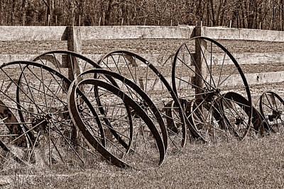 Antique Wagon Wheels I Art Print by Tom Mc Nemar