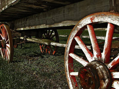 Country Photograph - Antique Wagon Wheels by Scott Hovind