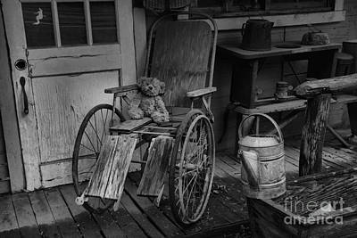 Photograph - Antique Wheel Chair Teddy by Adam Jewell