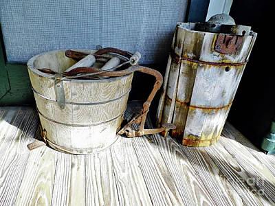 Photograph - Antique Wooden Buckets by D Hackett