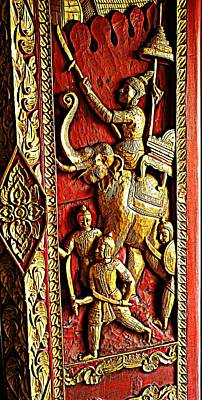 Photograph - Antique Wooden Decorative Temple Door by Ian Gledhill