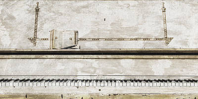 Large Photograph - Antique Wooden Piano Keyboard - Large Music Art Prints by Wall Art Prints