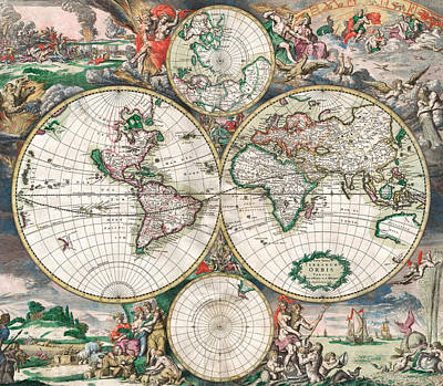 Country Scene Drawing - Antique World Map by Dutch School