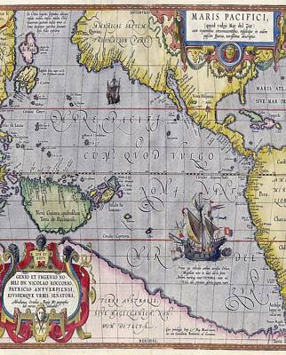 Drawing - Antique World Map Print From 1589 by Marianna Mills