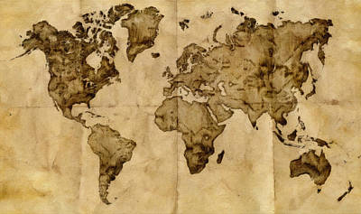 Antique World Map Art Print by Radu Aldea