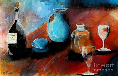Wine Painting - Antiqued by Lisa Kaiser