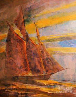 Bluenose Painting - Antiqued Schooner by John Malone