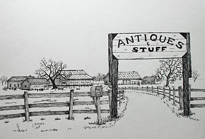 Drawing - Antiques And Stuff by Jack G Brauer