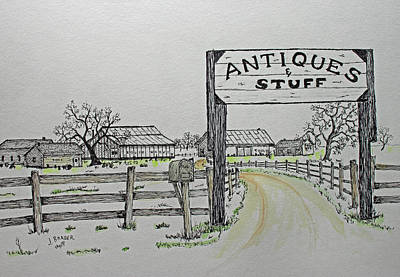 Drawing - Antiques And Stuff Wash by Jack G Brauer