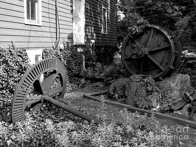 Photograph - Antiques At Red Mill - Black And White by Jacqueline M Lewis