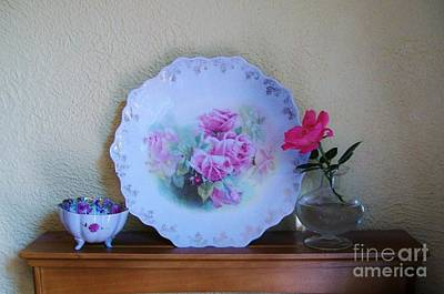 Antique Plates Photograph - Antiques For The Heart by Marsha Heiken