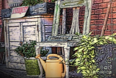Digital Art - Antiques On The Front Porch by Mary Lou Chmura