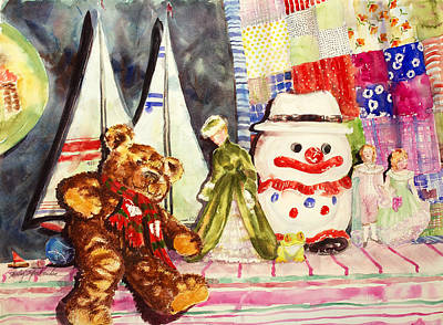 Teddy Bear Watercolor Painting - Antiques by Shirley Sykes Bracken