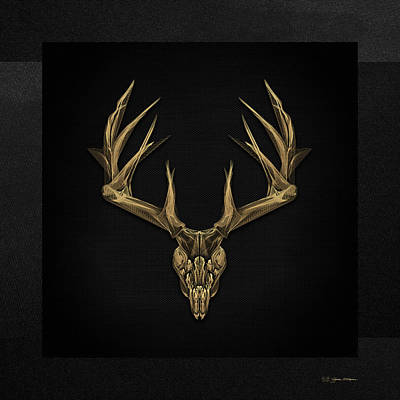 Digital Art - Antlered Skulls - Gold Deer Skull X-ray Over Black Canvas No.1 by Serge Averbukh