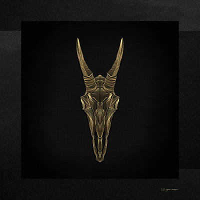Digital Art - Horned Skulls - Gold Mountain Goat Skull X-ray Over Black Canvas No.1 by Serge Averbukh