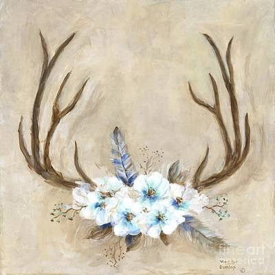 Antlers And Flowers Art Print