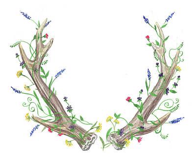 Painting - Antlers And Wild Flowers Watercolor by Irina Sztukowski