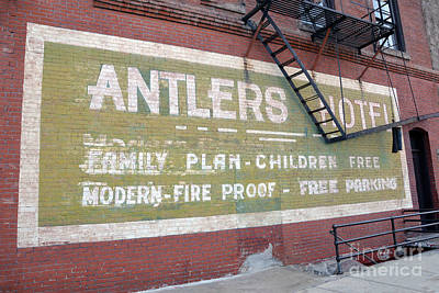 Photograph - Antlers Hotel Sign, Baker City by Catherine Sherman