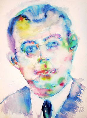 Comte Painting - Antoine De Saint-exupery - Watercolor Portrait by Fabrizio Cassetta