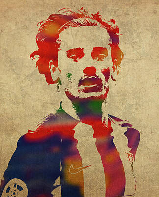 Soccer Mixed Media - Antoine Griezmann Watercolor Portrait by Design Turnpike