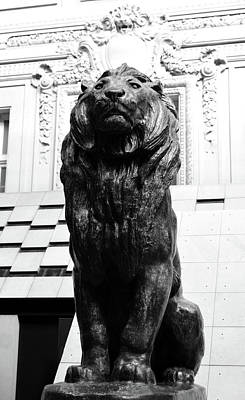Photograph - Antoine Louis Barye Seated Lion Sculpture Orsay Museum Paris France Black And White by Shawn O'Brien