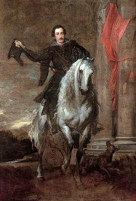 Anton Giulio Brignole-sale On Horseback Print by Anthony van Dyck