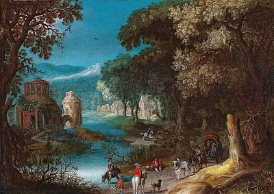 Keith Richards - Anton Mirou Frankenthal before 1586 - after 1653 A river landscape with a horse-drawn cart and tra by Anton Mirou