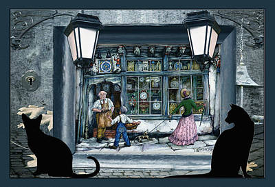 Anton Digital Art - Anton Pieck -clockmaker Shop by Nadine May