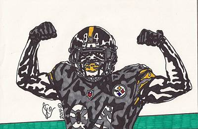 Steelers. Illustration Drawing - Antonio Brown  by Jeremiah Colley