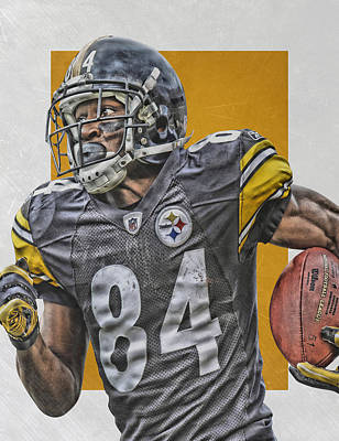 Football Mixed Media - Antonio Brown Pittsburgh Steelers Art 3 by Joe Hamilton