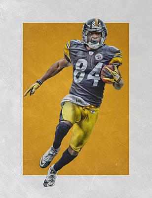Mixed Media - Antonio Brown Pittsburgh Steelers Art by Joe Hamilton