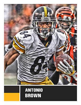 Mixed Media - Antonio Brown Pittsburgh Steelers by Joe Hamilton