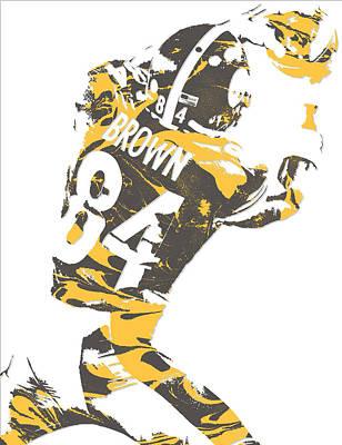 Mixed Media - Antonio Brown Pittsburgh Steelers Pixel Art 16 by Joe Hamilton