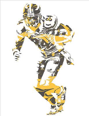 Mixed Media - Antonio Brown Pittsburgh Steelers Pixel Art 18 by Joe Hamilton