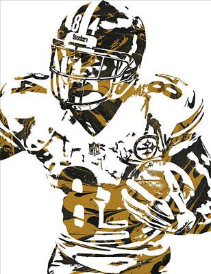 Pittsburgh Mixed Media - Antonio Brown Pittsburgh Steelers Pixel Art 5 by Joe Hamilton