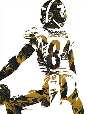 Mixed Media - Antonio Brown Pittsburgh Steelers Pixel Art 6 by Joe Hamilton