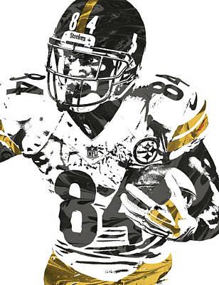 Steelers Mixed Media - Antonio Brown Pittsburgh Steelers Pixel Art by Joe Hamilton