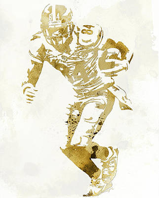 Mixed Media - Antonio Brown Pittsburgh Steelers Water Color Art 1 by Joe Hamilton