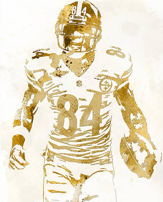 Mixed Media - Antonio Brown Pittsburgh Steelers Water Color Art 2 by Joe Hamilton