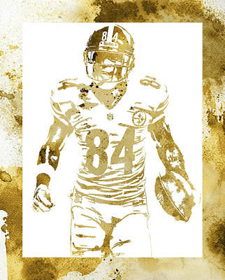 Mixed Media - Antonio Brown Pittsburgh Steelers Water Color Art 3 by Joe Hamilton