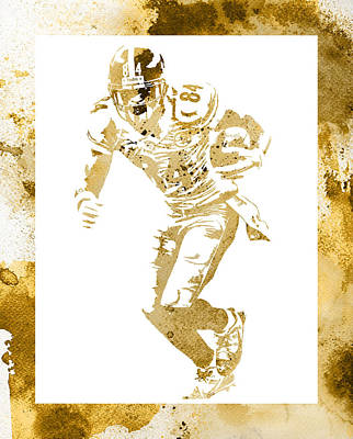 Mixed Media - Antonio Brown Pittsburgh Steelers Water Color Art 4 by Joe Hamilton