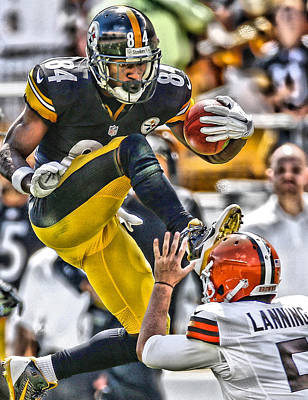 Antonio Brown Steelers Art 5 Art Print by Joe Hamilton