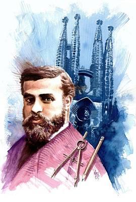 Spaniards Painting - Antonio Gaudi by Ken Meyer jr