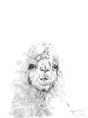Llama Drawing - Antonio by K Llamas