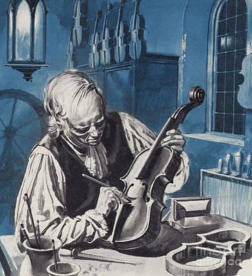At Work Painting - Antonio Stradivari by English School