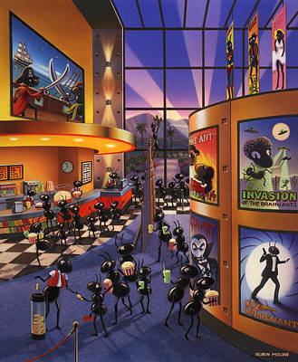 Block Painting - Ants At The Movie Theatre by Robin Moline