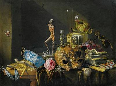 Heem Painting - Antwerp A Vanitas Still Life With A Skull And An Ecorch by MotionAge Designs