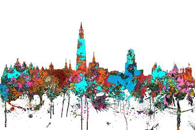 Digital Art - Antwerp Belgium Skyline by Marlene Watson